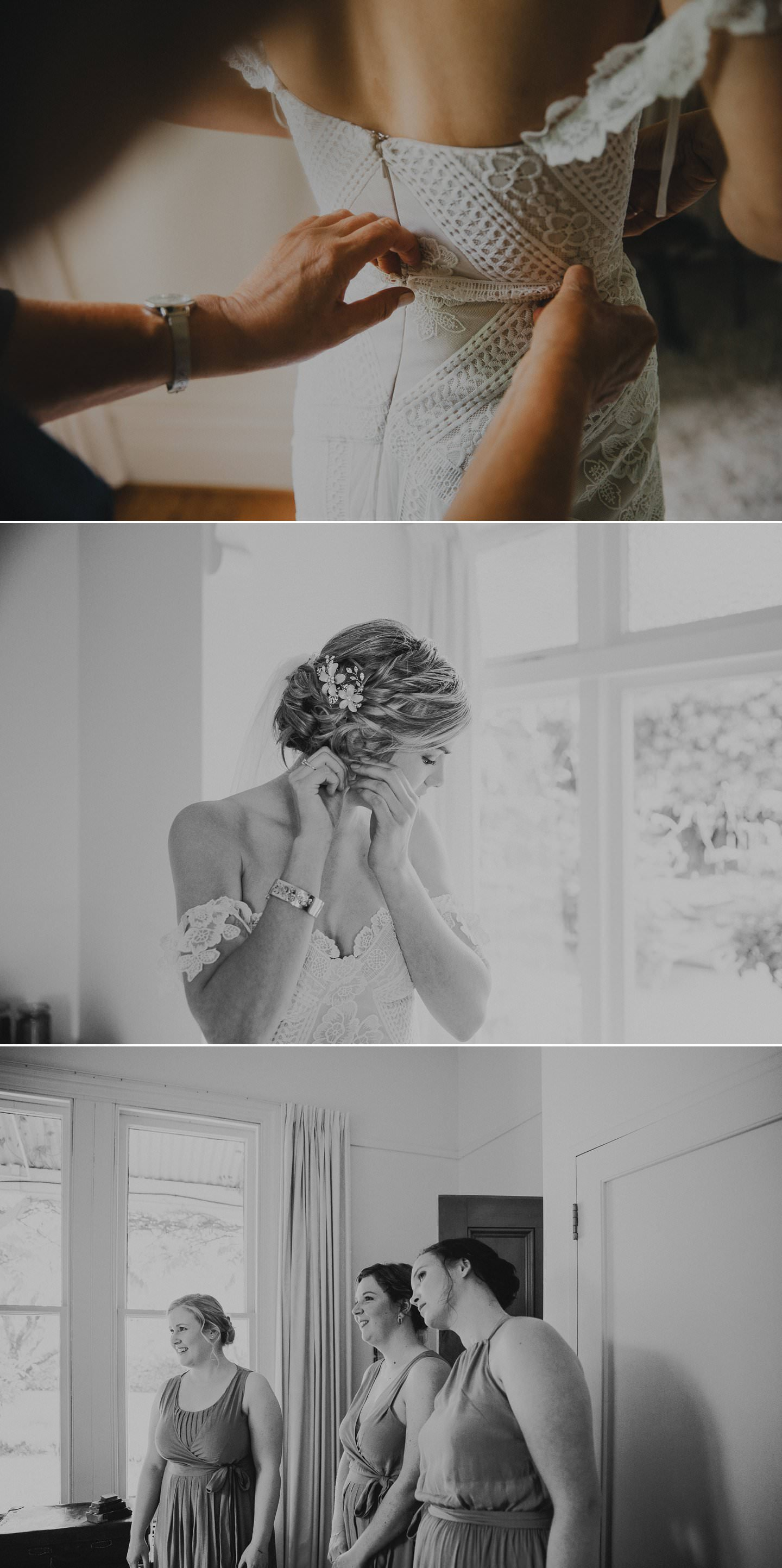 Bride getting ready, and into her rue de siene fox gown