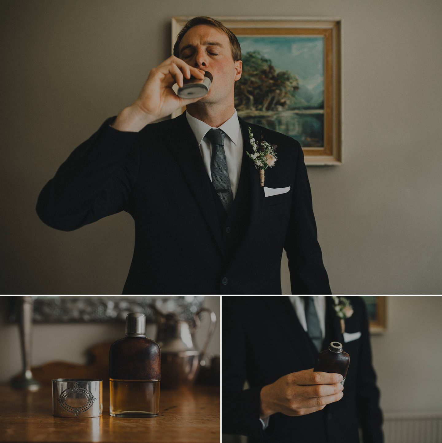 Groom taking a shot of whisky before the wedding. Whisky Bar