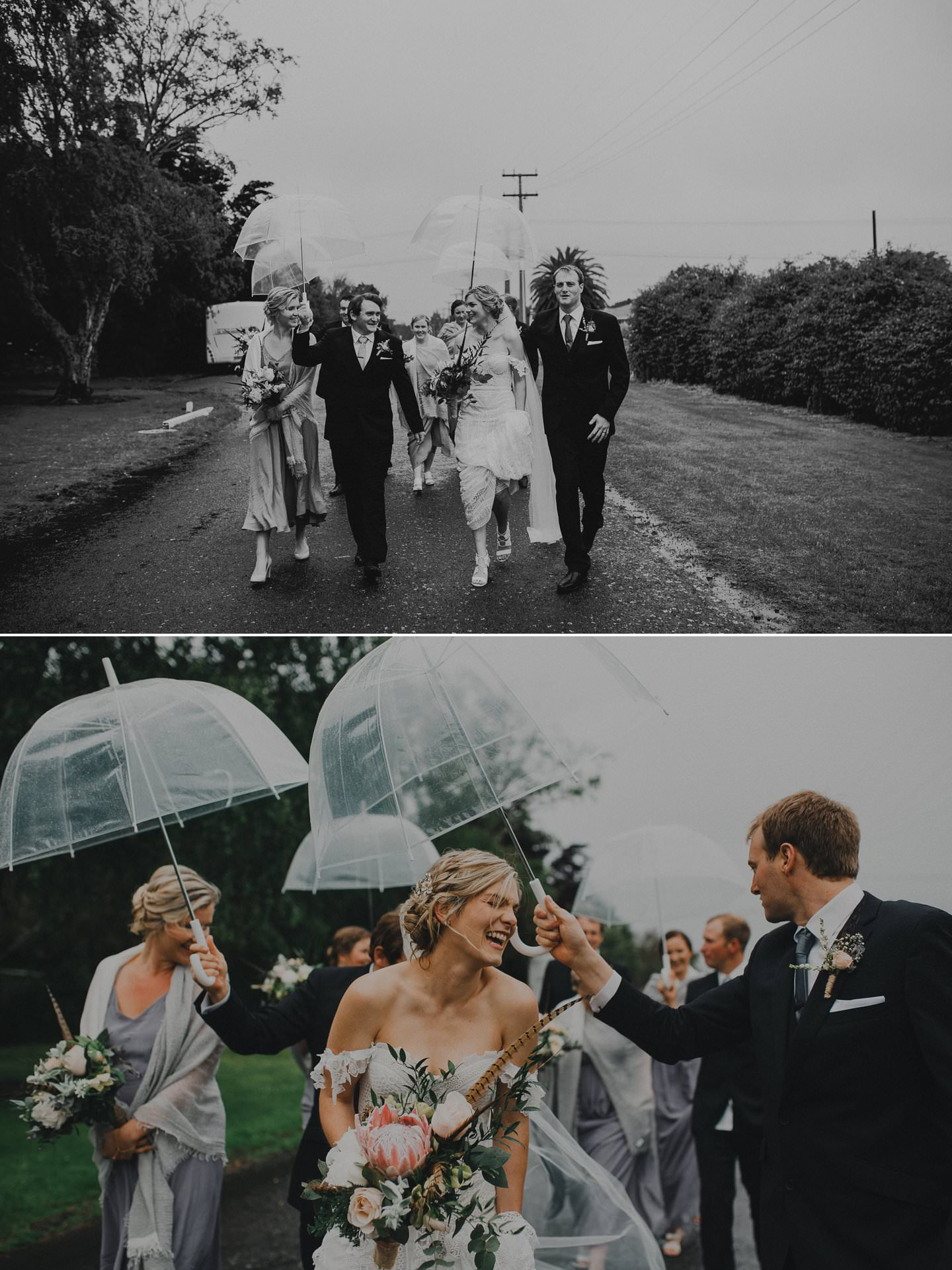 Bridal party walking in the rain with umbrellas and grey bridesmaid dresses