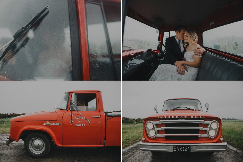 Rainy day wedding photos taken in a vintage truck