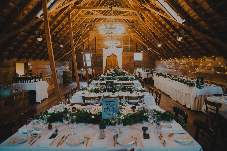Wedding reception set up at Tarureka Estate