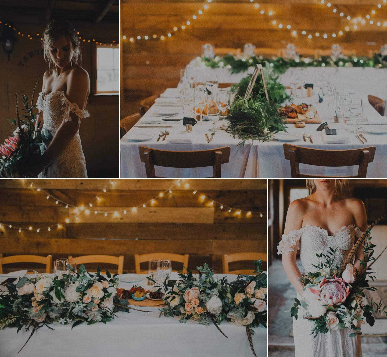 Beautiful rustic barn wedding details. Pastel florals with greenery. Bride wears rue de siene dress