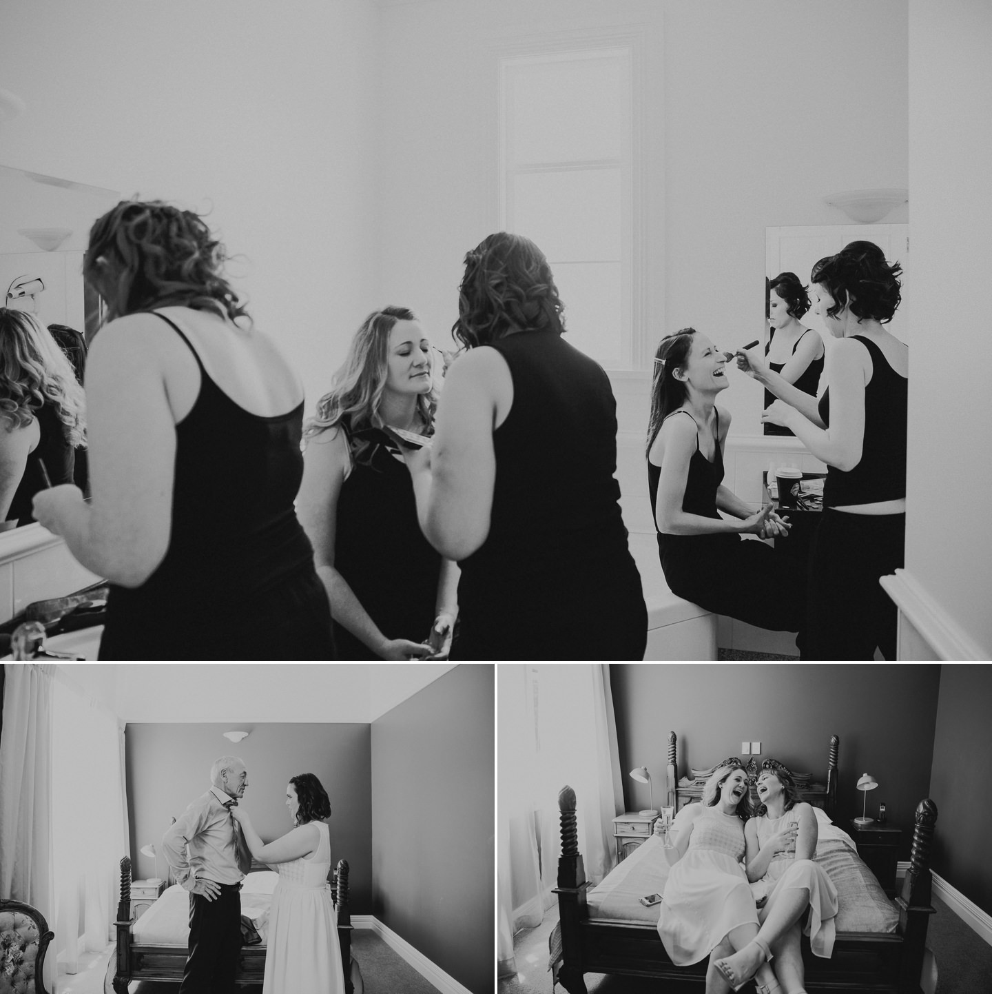 Bride and bridesmaids getting ready. Bridesmaids laughing.