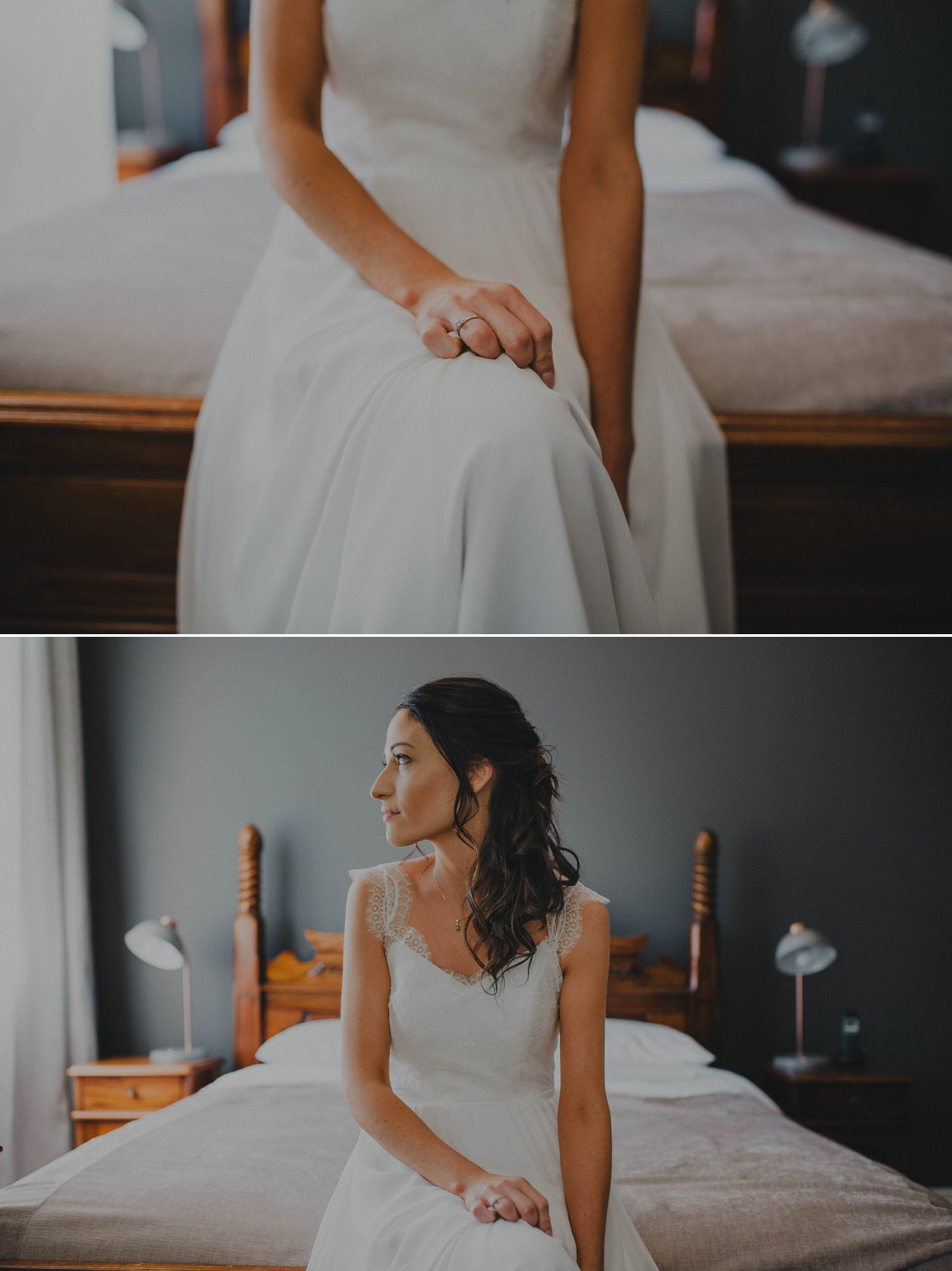 Bride on her wedding day taking time to breathe. Bridal portraits