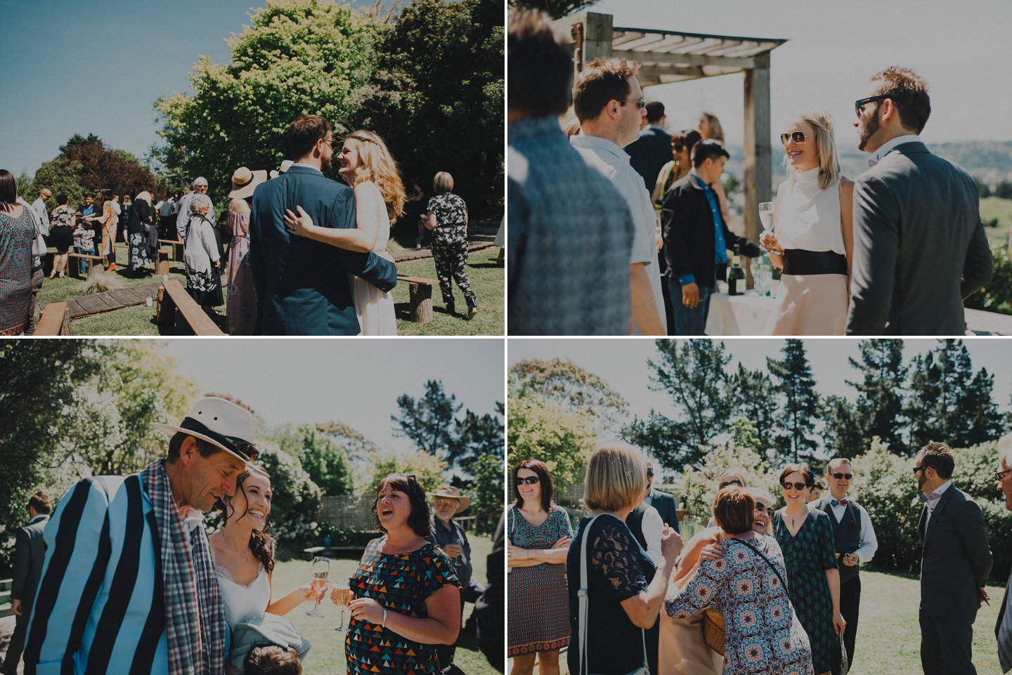 Candid photos of guests enjoying themselves at backyard wedding