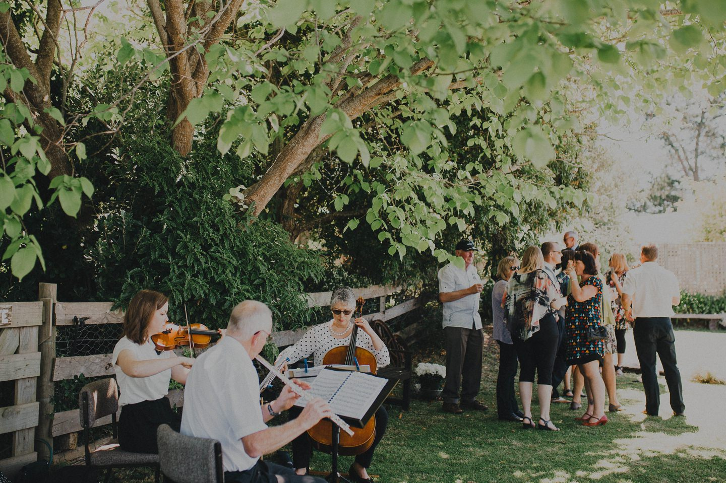 String quartet at outdoor wedding.