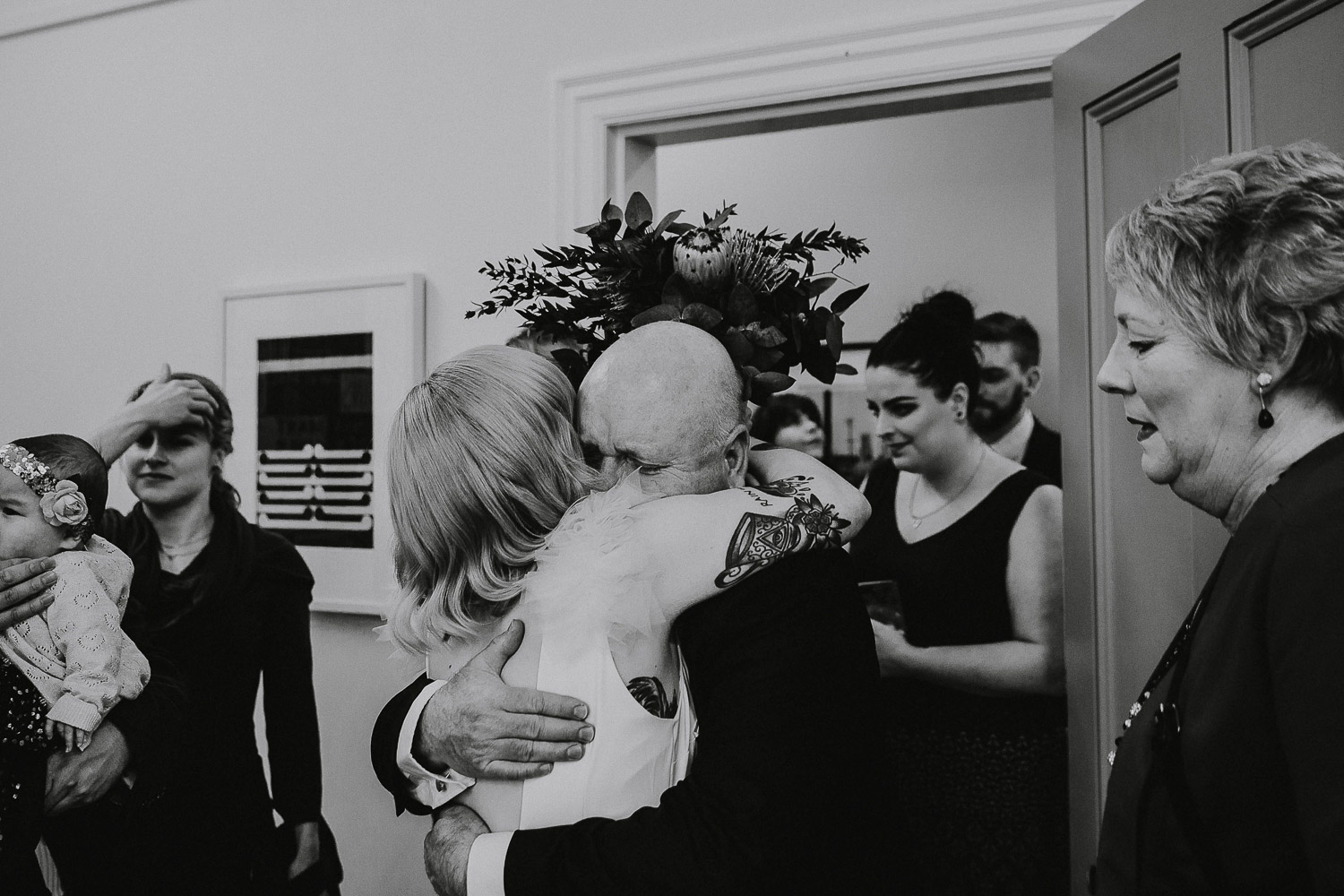 Authentic candid moments between bride and father of the bride