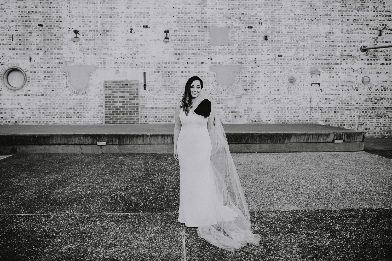 Photos of the bride at the power station in Brisbane