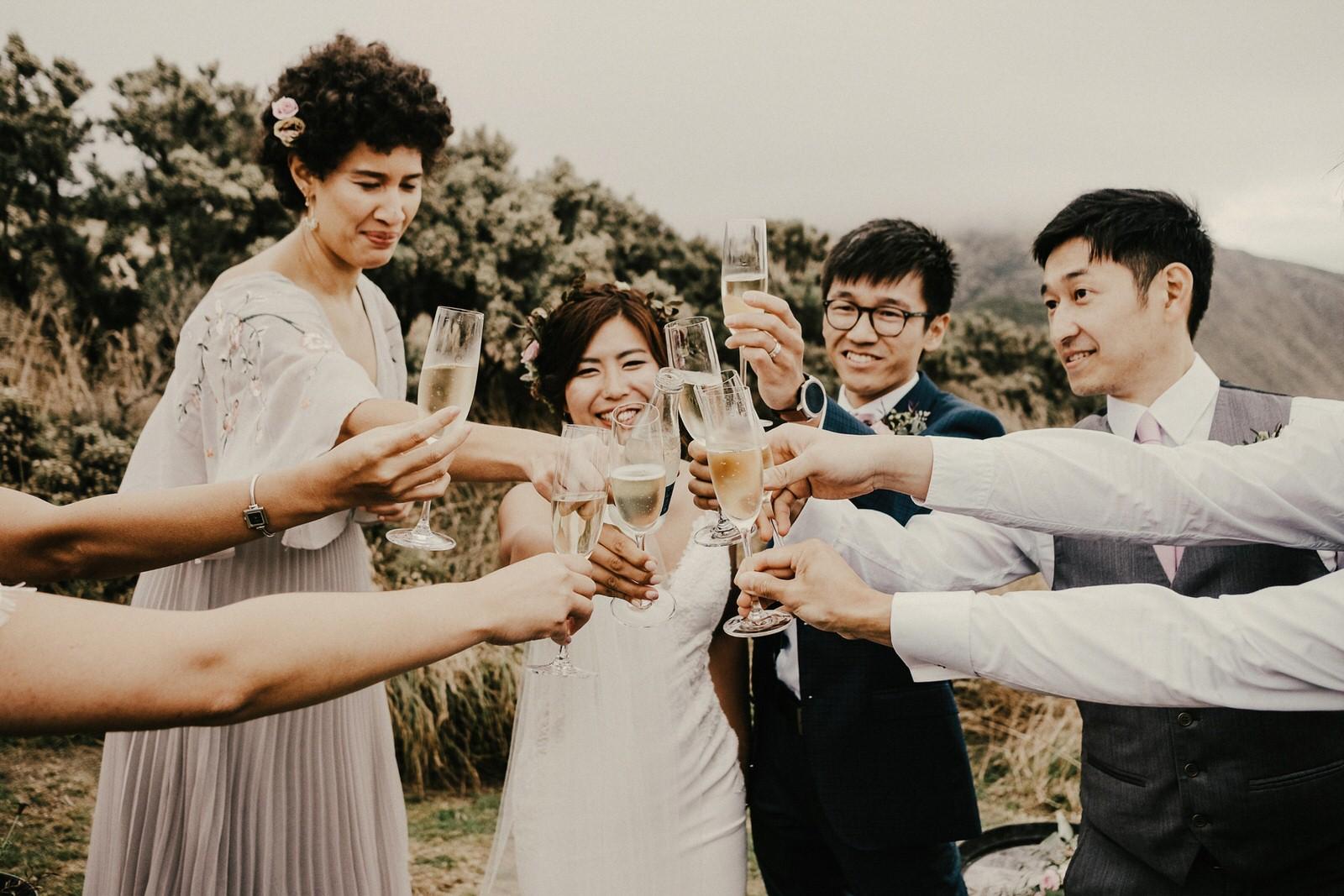 Wellington wedding photos with friends