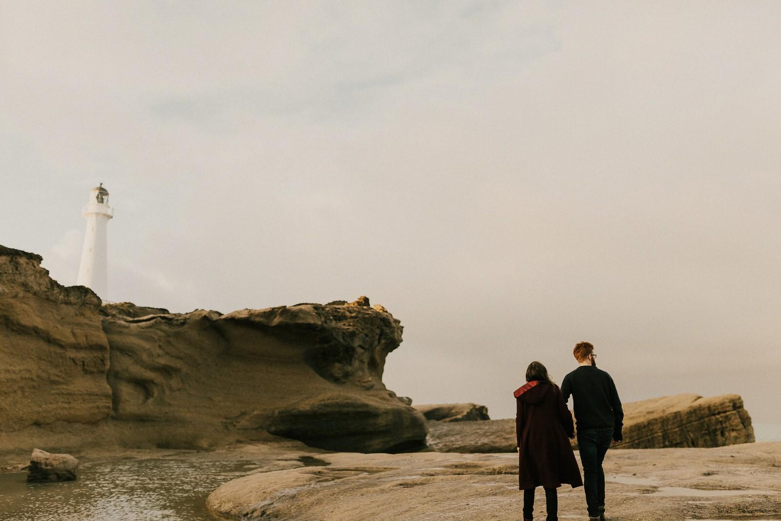 New Zealand pre-wedding photos at Castle Point, Wairarapa.