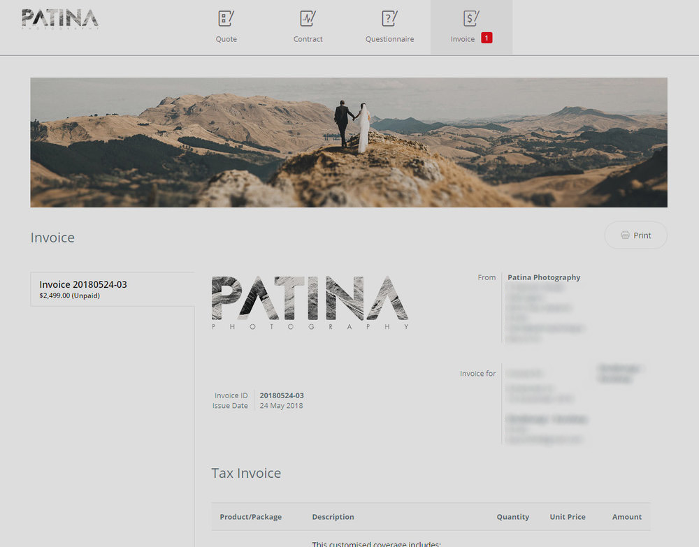 We use Studio Ninja which does a lot of the invoice work for us.
