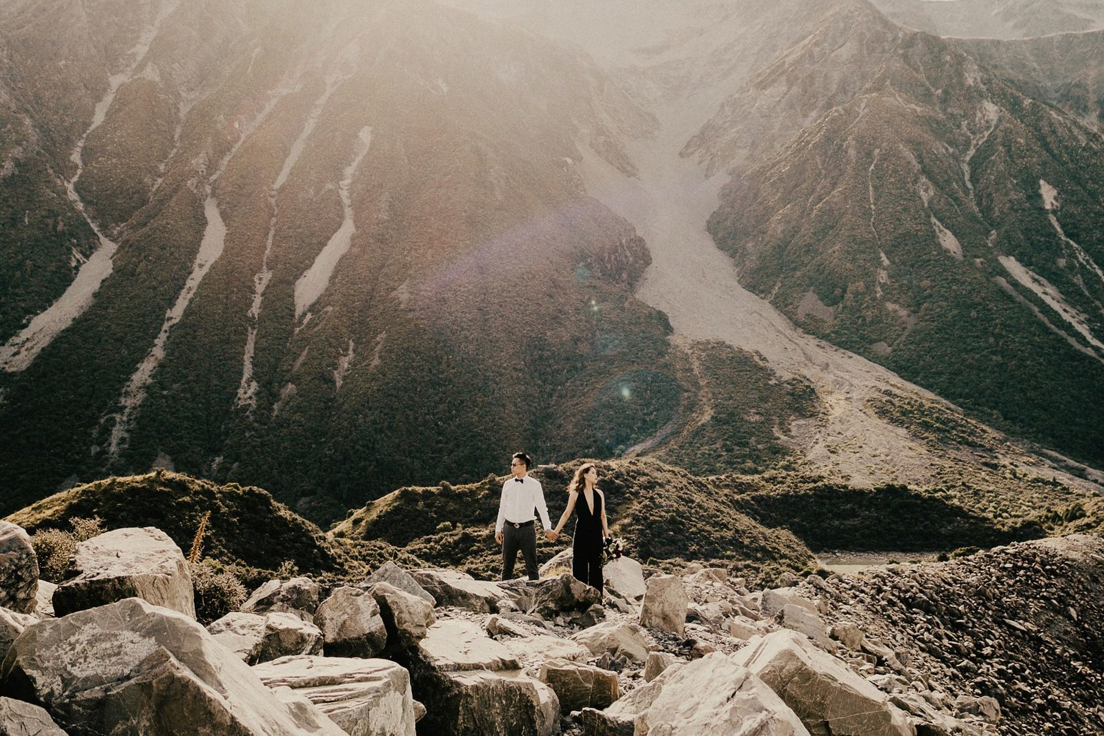 Pre-wedding photos at Hooker Valley, New Zealand