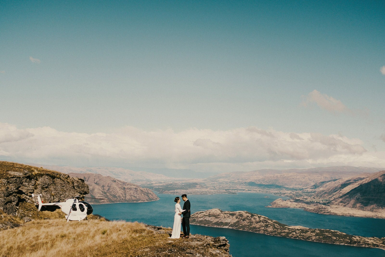 Pre-wedding photos at Look out Hill, Wanaka with Helicopter