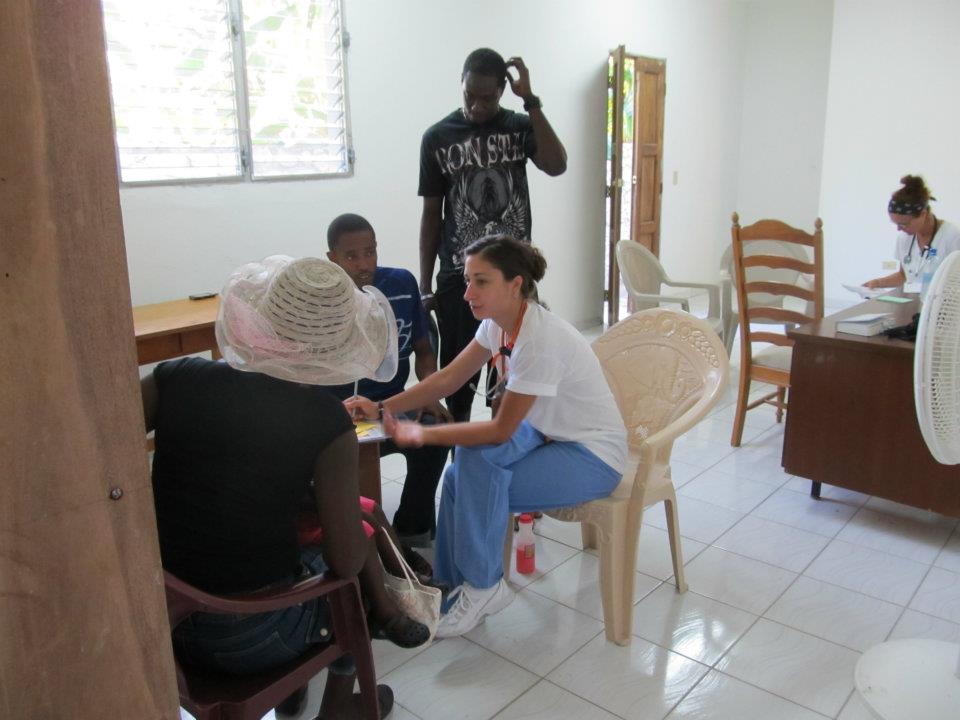 Operating a clinic in rural Haiti.
