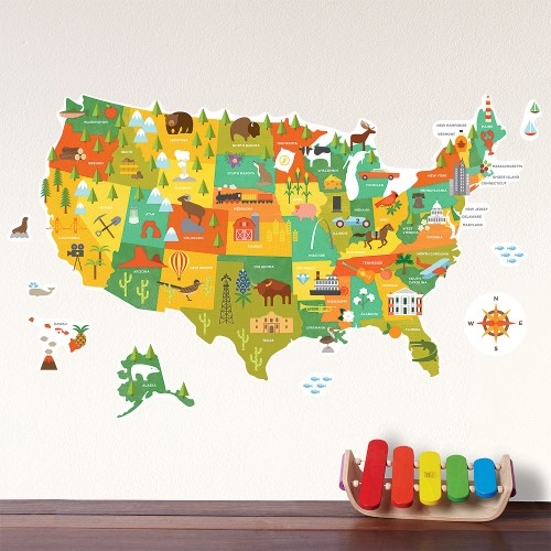 USA Map Fabric Wall Decal
