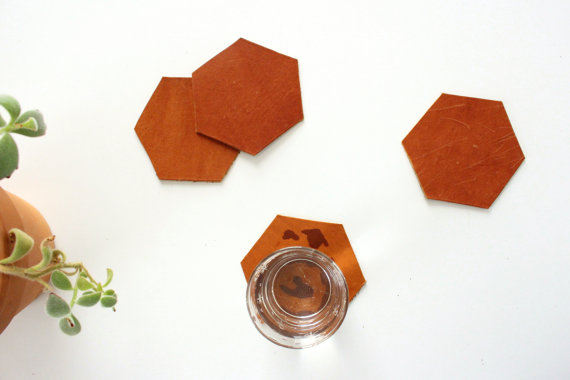 Leather Hexagon Coasters