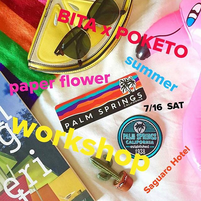 It's Monday... Let's start it right by planning for a little summer getaway 😂  @bloomsintheair x @poketo  paper flower workshop in palm springs. 🤗@thesaguarops offering awesome rates for the students. Don't miss out on free morning yoga session 🙌🏻 and the POOL 💦 all with some paper flowers knowledge you'll take with you for life. 😆🌴🌞💐 link is in profile~ see you at palm springs!