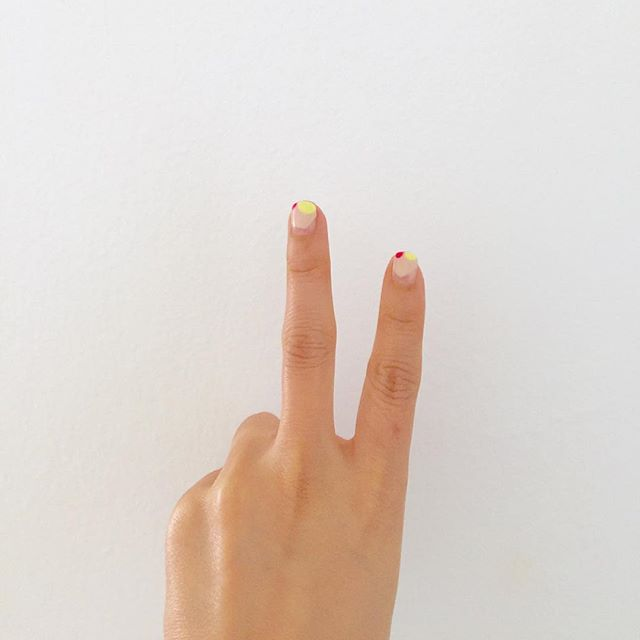 So ready to take on the hot weekend with neon accented nails. TGIF! #nailart #latestobsession #hotweekend #neonnails #readyforweekend
