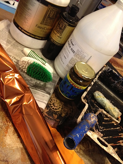 Recommended Supplies: Wundasize, Faux Creme Clear, Faux Color or Faux Creme Color of choice, metallic foil, scrub brush, newspaper, whizz roller, roller tray