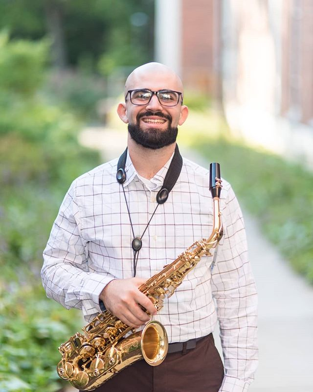 "For today's ""Studio Sunday,"" we are featuring our teaching assistant, Ian Robinson!! Ian is a 2nd year graduate student from Baldwin, NY who completed his the Hartt School in Connecticut under Carrie Koffman. He plays alto in our Symphonic Wind Ensemble and enjoys running, hiking, and biking. He is also a brother of Phi Mu Alpha Sinfonia. Look out for a recital coming from him soon!! 🎷🎶 (📸 @tomsnyderphoto )"