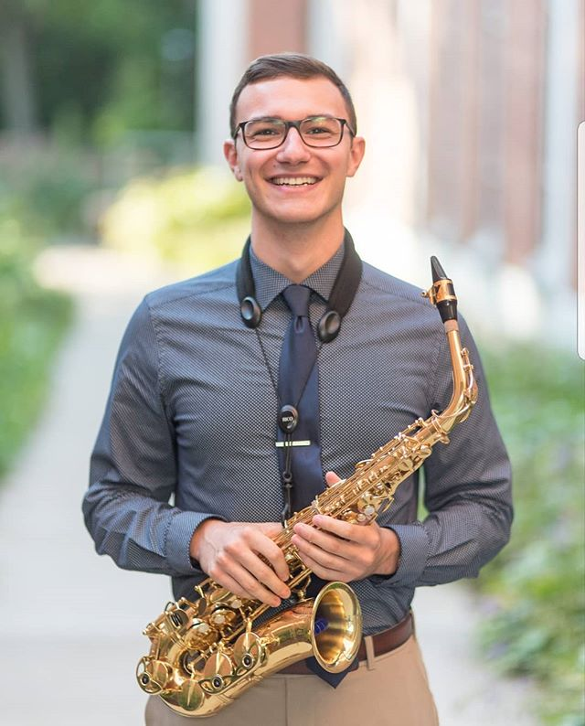 "For today's ""Studio Spotlight,"" we are featuring Jacob Bernat! Jacob is a recent graduate of Penn State with a Bachelor's in Music Education and is now pursuing a Professional Performance Certificate. He from Newmanstown, PA and is in a variety of ensembles, including Symphonic Wind Ensemble, Centre Dimensions, and a saxophone trio. His hobbies include running, listening to music, performing, learning about music theory, and being an all-around great person! A fun fact about Jacob is that he worked the past 4 summers cleaning and working on school buses at a body shop. We are all very happy that he decided to come back for another year!! 🎷🎶😊(📸:@tomsnyderphoto)"