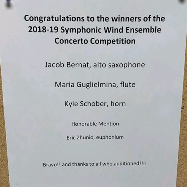Congratulations to our very own Jacob Bernat for being selected as on of this year's winners of the Symphonic Wind Ensemble Concerto Competition!! We are all so happy for you and excited to see you play with SWE next semester! 🎷Congratulations to all who auditioned and the other winners that were selected!