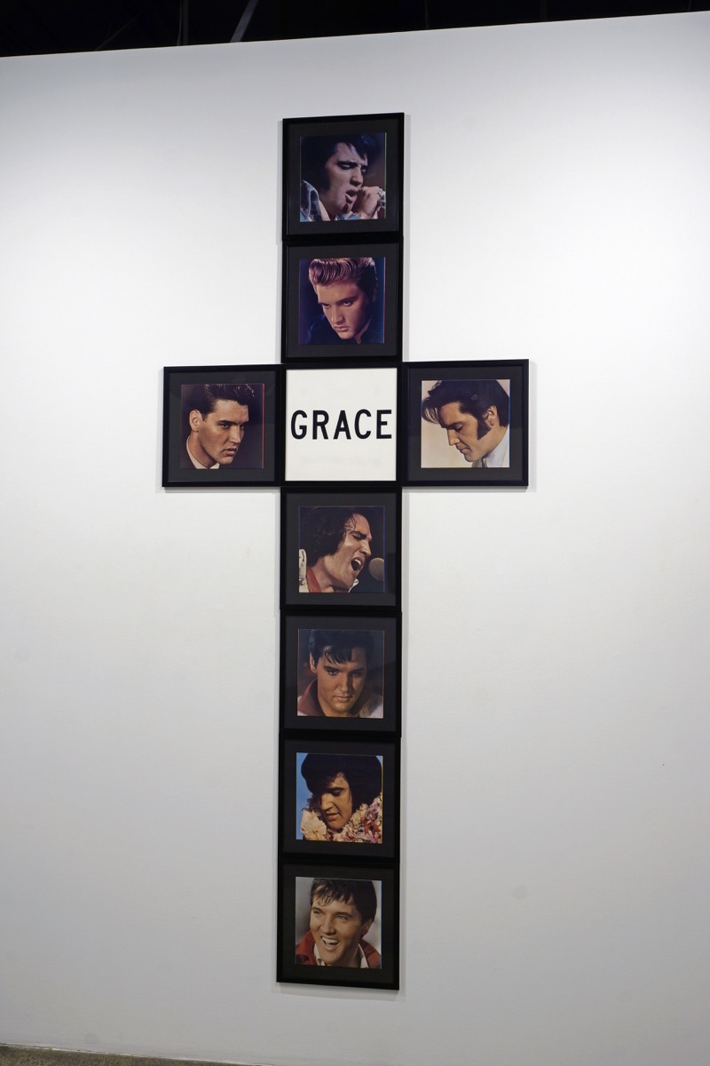 """Vikky Alexander,  Grace,  1984,Mixed media: 8 individually framed album covers and one title image,14"""" x 14"""" – each/ 112"""" x 48"""" – overall"""