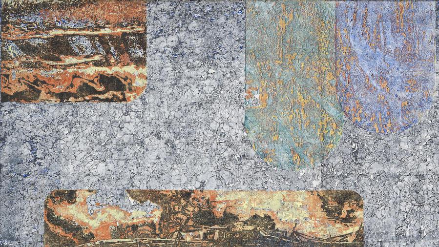 "Detail of Martin Werthmann's woodblock print ""Epilogue II,"" which also can be seen full frame below. (Trevor Good / Wilding Cran Gallery)"