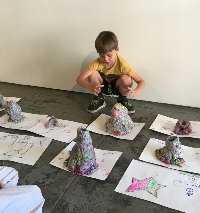 2016 . After looking at Catherine Fairbanks' papier mache chimneys and embossed drawings in her show,    Two Chimneys   , and then went on to make their own mini chimneys and drawings.