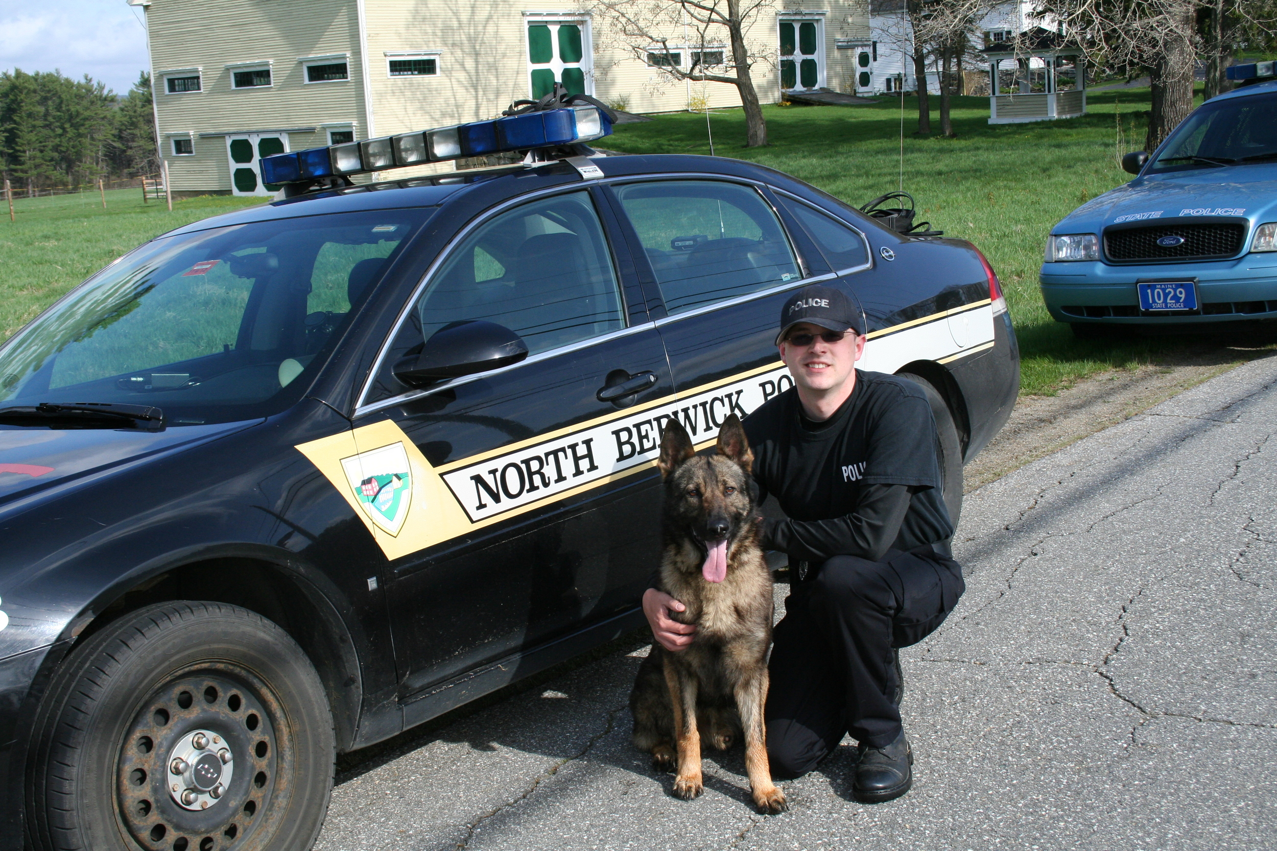 Hoki was sold to the North Berwick Maine Poilce Department and is certified as a Patrol and Narcotic Detection K9.  He is seen here with his handler, Officer Dan Pelkey .       My Department came to Von Woden Kennels looking for a dual-purpose canine, the first in our Department's history.  We sat down and discussed with Dave that our primary concern was to have a dog that was not only an effective crime deterrent, but one that was approachable and could be used for community relations projects; we didn't want a dog that the community would be afraid of.  Dave matched us up with Hoki who was the perfect dog for our needs.  Hoki has not only been successfully deployed in a law enforecment role, but has also been brought into a summer camp to introduce local kids to police canines.   - Officer Dan Pelkey