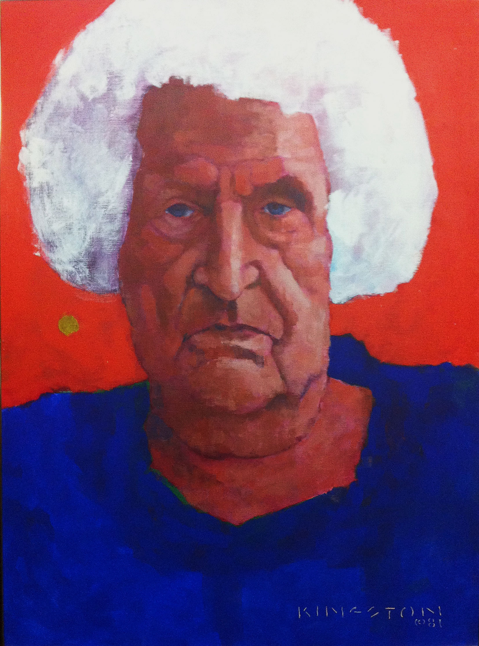 My grandmother, Beatrice Laffin, Acrylic on canvas 1981.  My wife thinks she looks to mean. I think she looks like someone who worked until she was 75 in the shoe factories. I cry when I look at this.