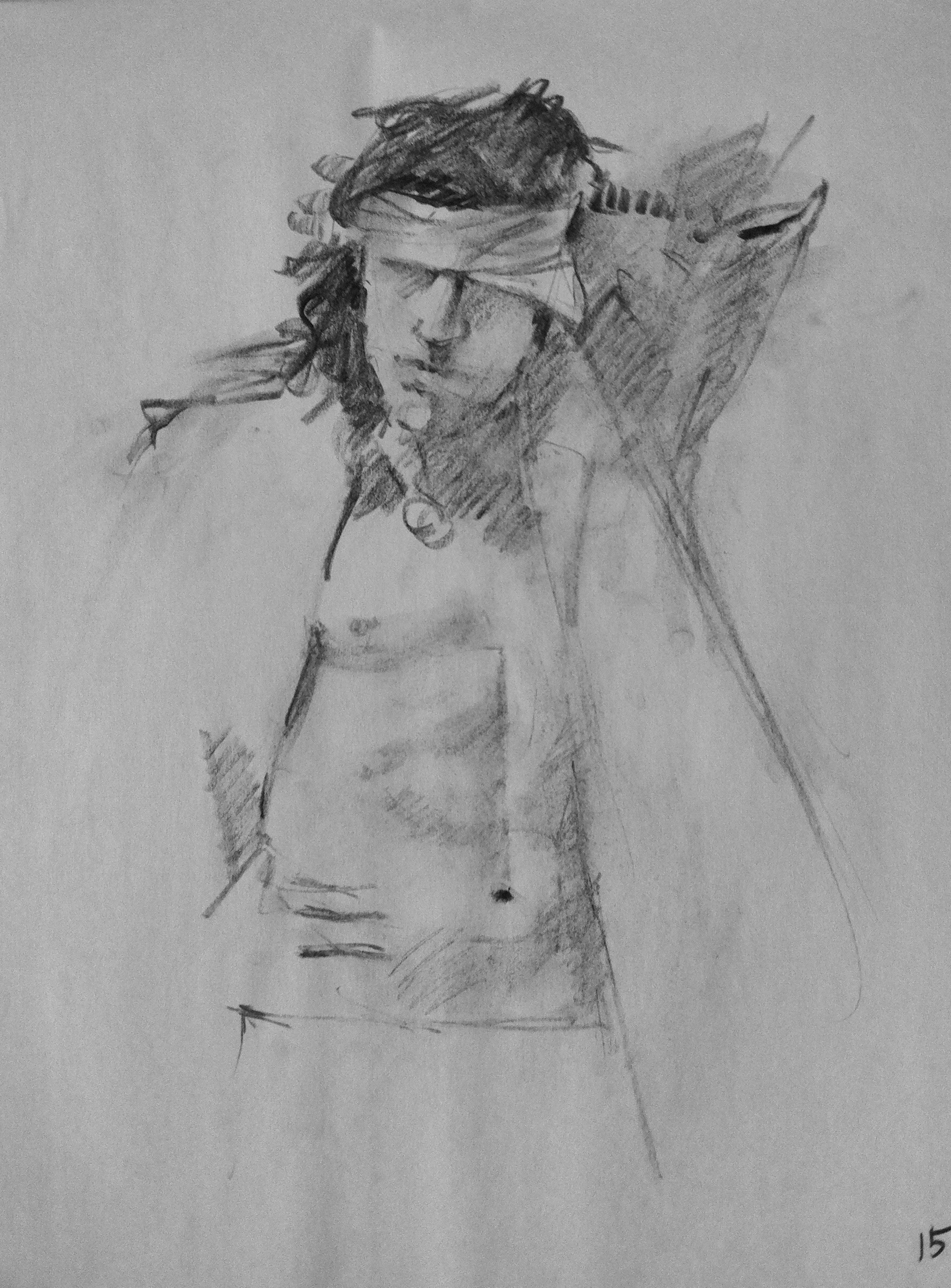 Nick at the AFA Gallery in Scranton. It was Nicks first time modeling ever. He was terrific  Willow stick charcoal on rough newsprint 15 minute pose  11/12/13