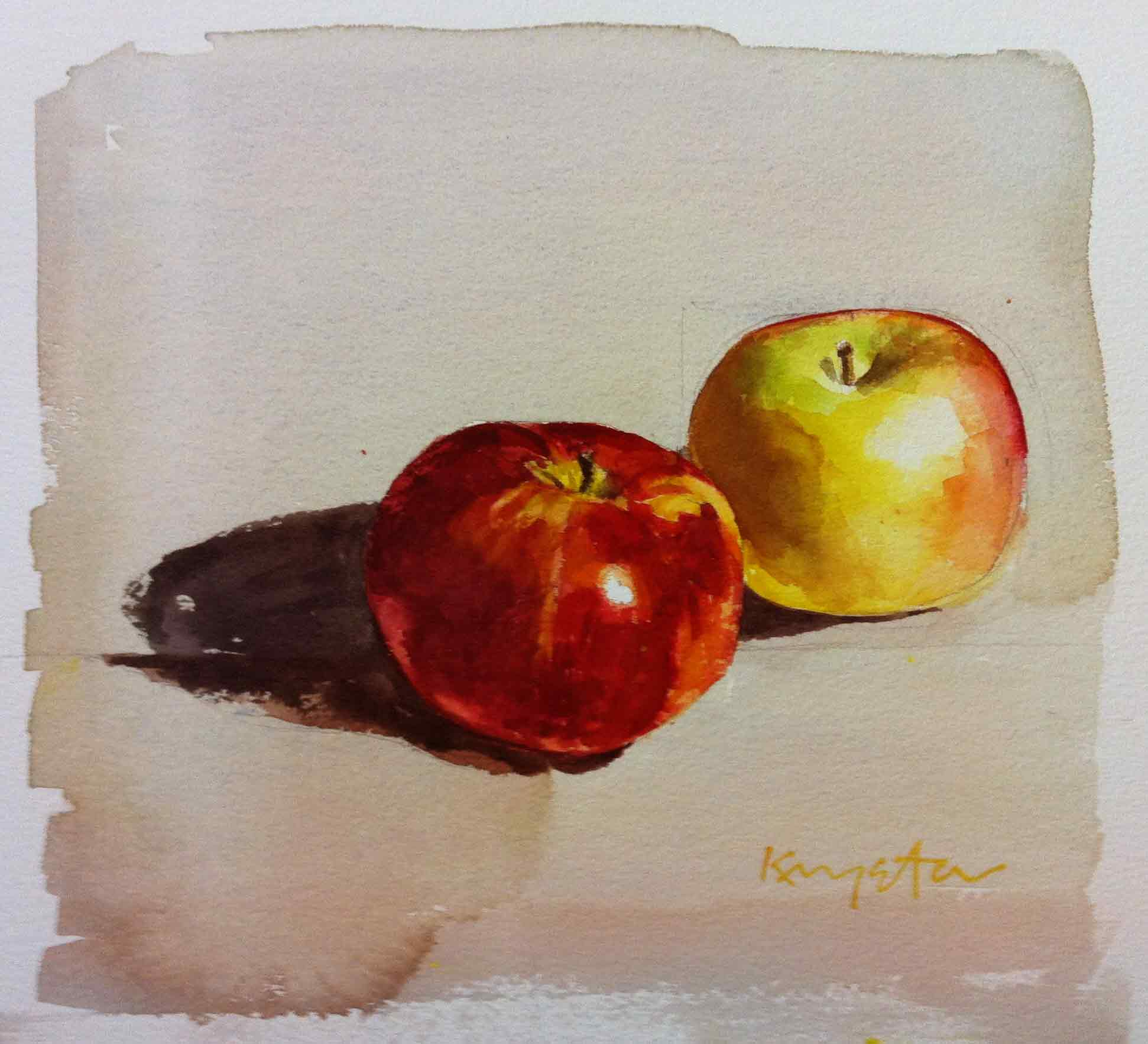 Apples on Arches rough watercolor