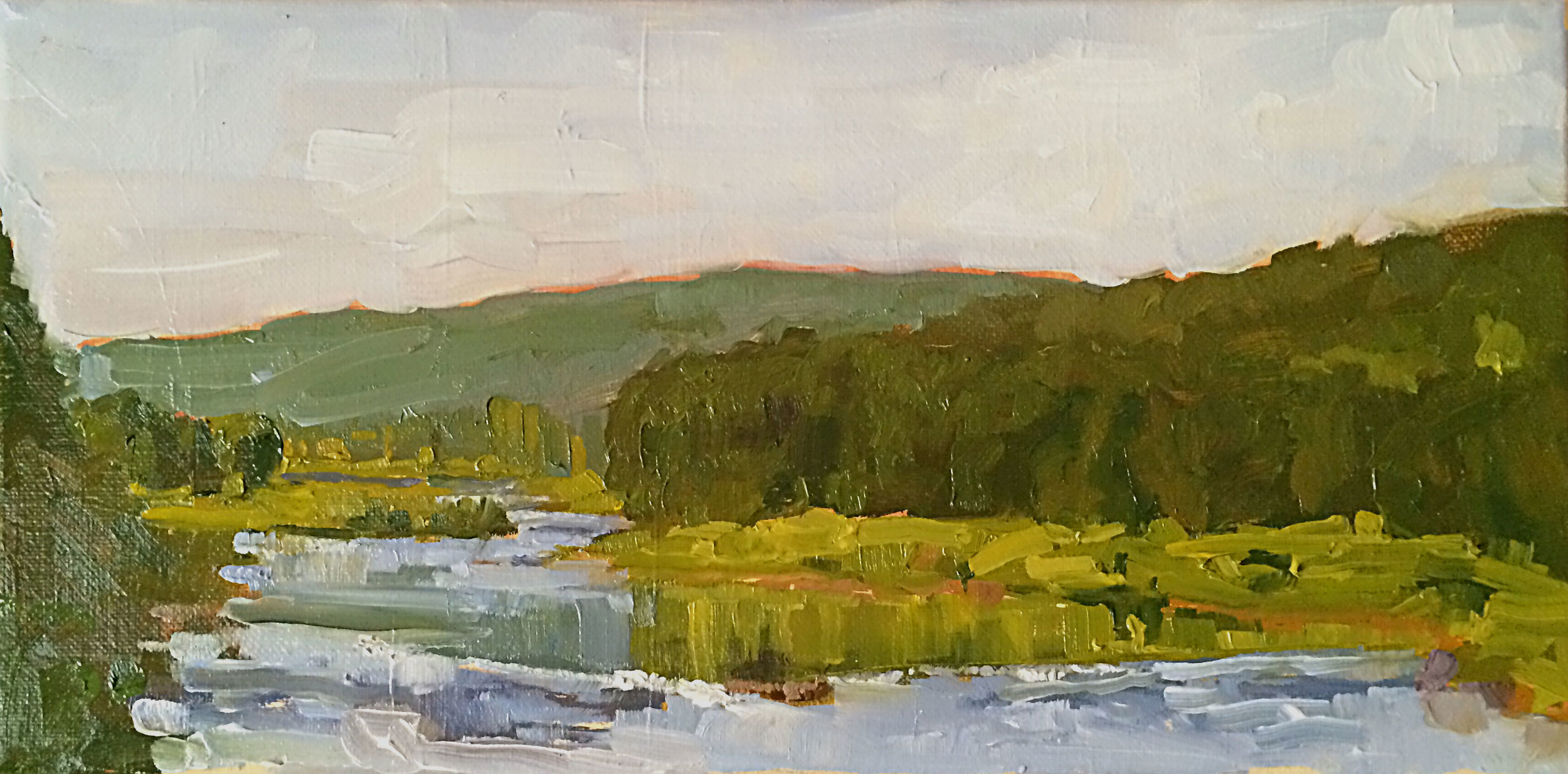 Eel Weir Number 1   (along the Delaware) Oil on canvas 14 x 7