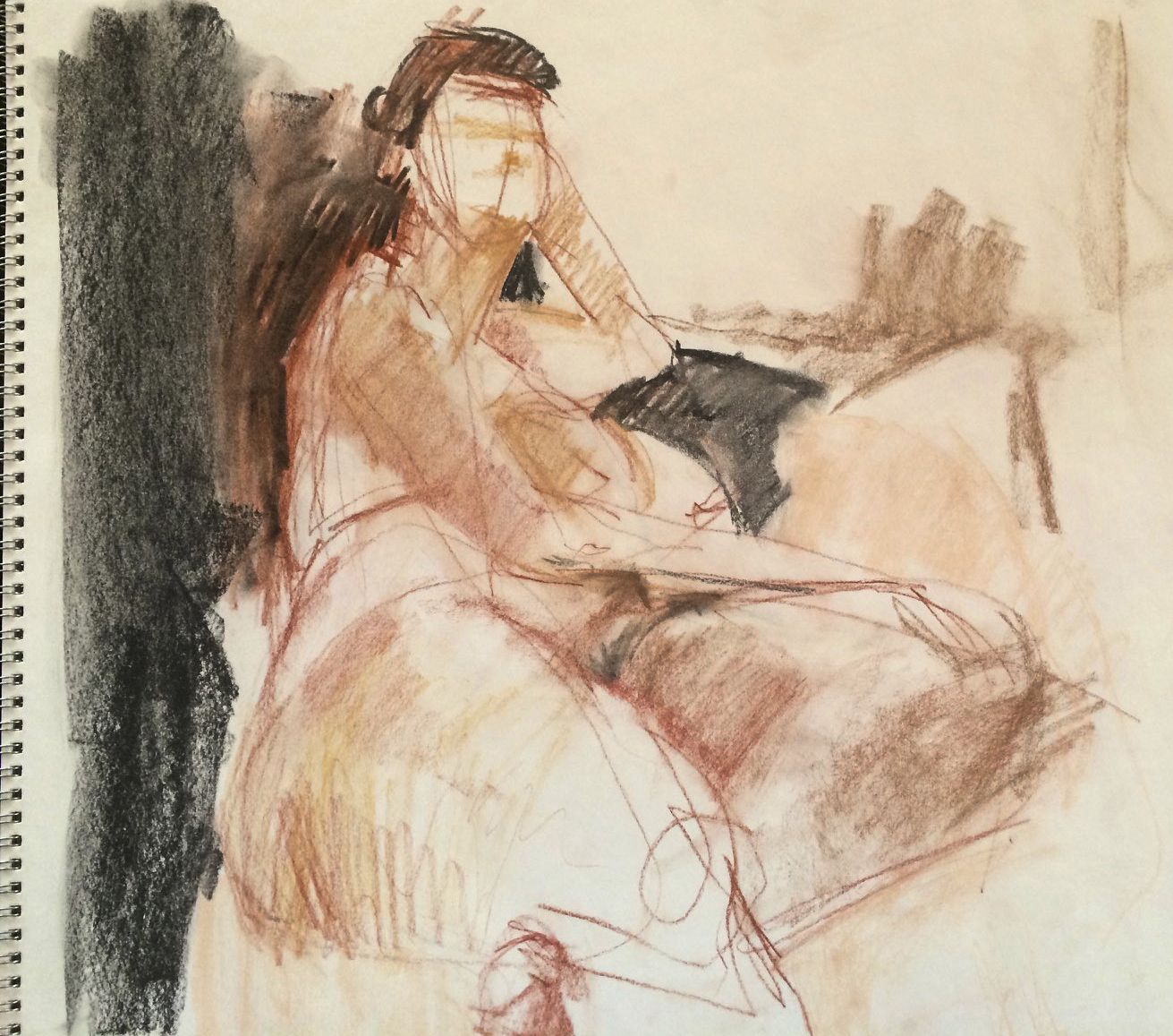 A ten minute sketch using charcoal, pastel and conte