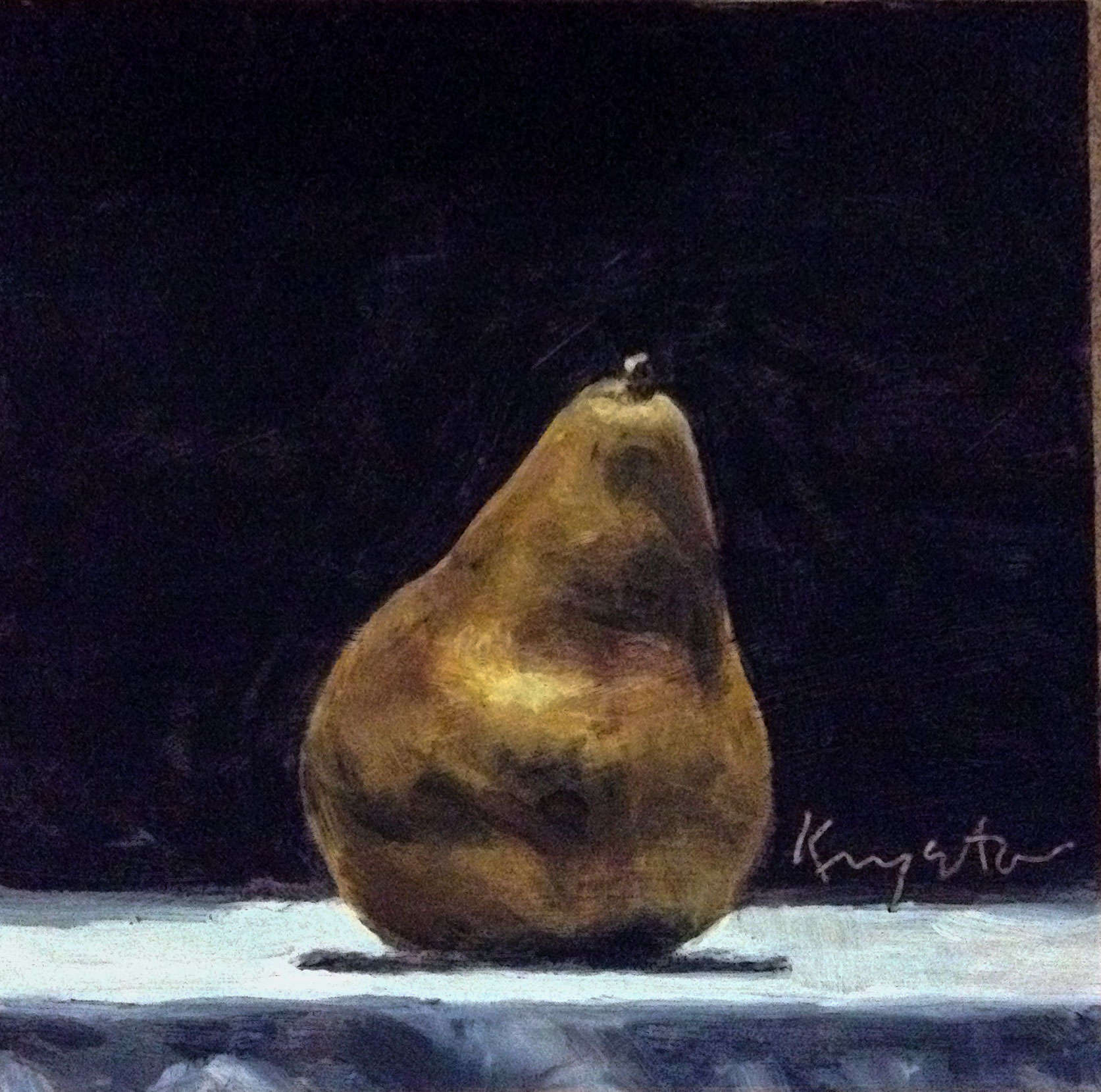 Rustic Pear  6 x 6 oil on panel
