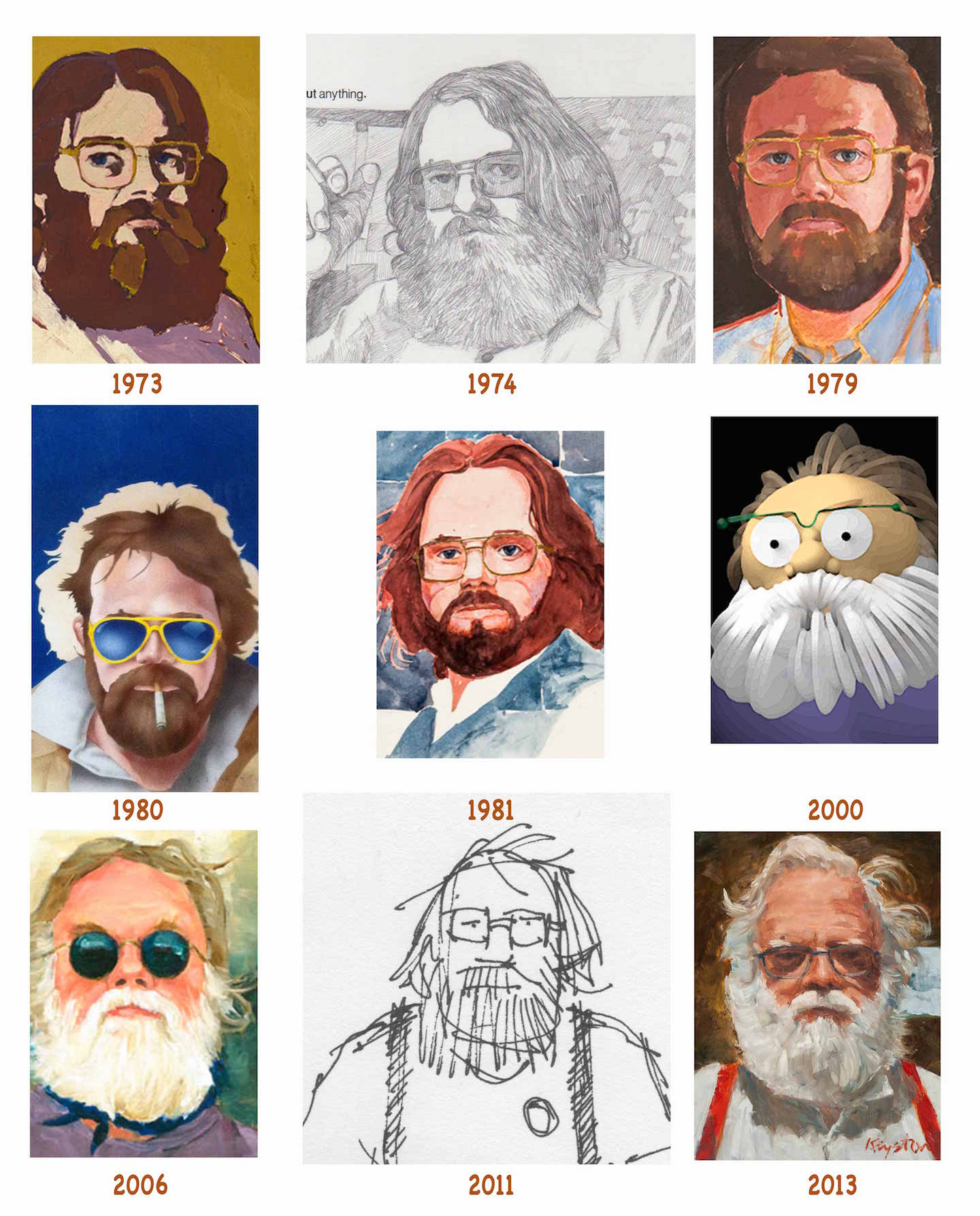 These self portraits were done in pencil, acrylics, oils, airbrush, watercolor and pen and ink.