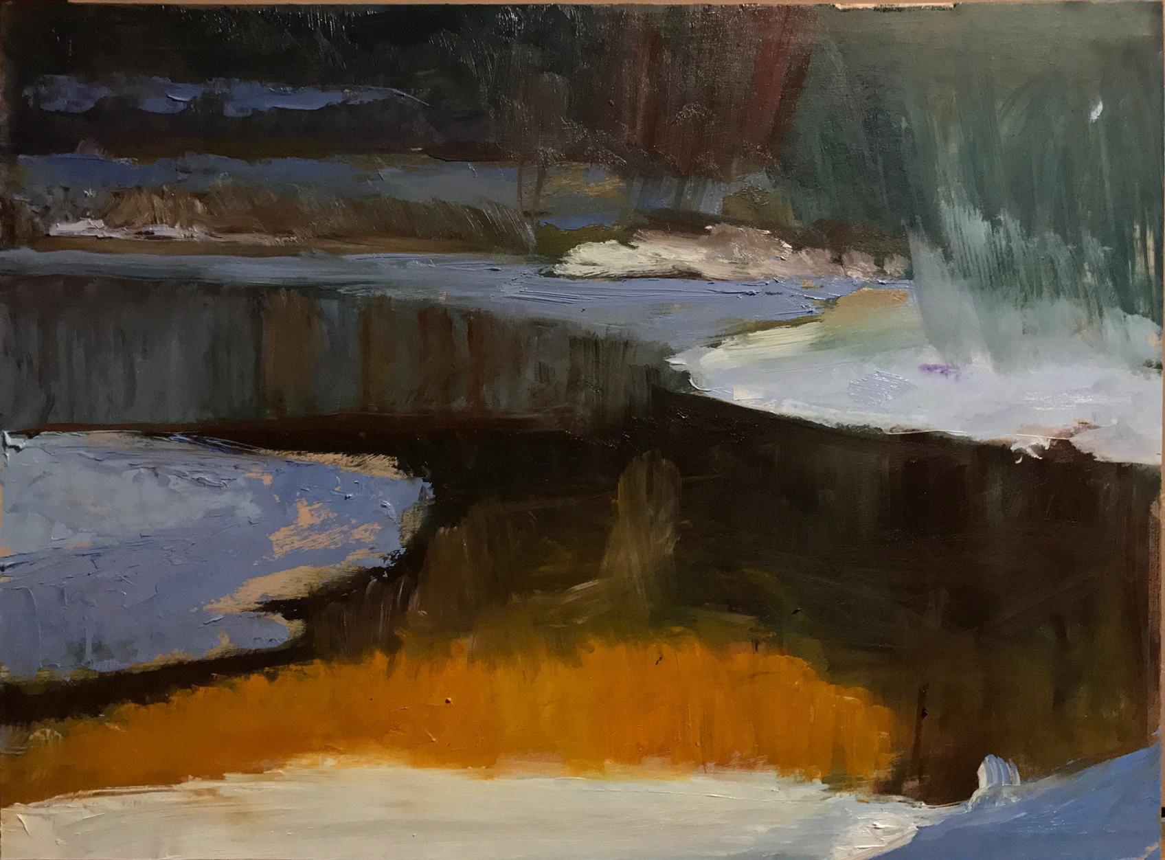 Skinners Falls Sketch 15 x 20 oil on gessoed illustration bord
