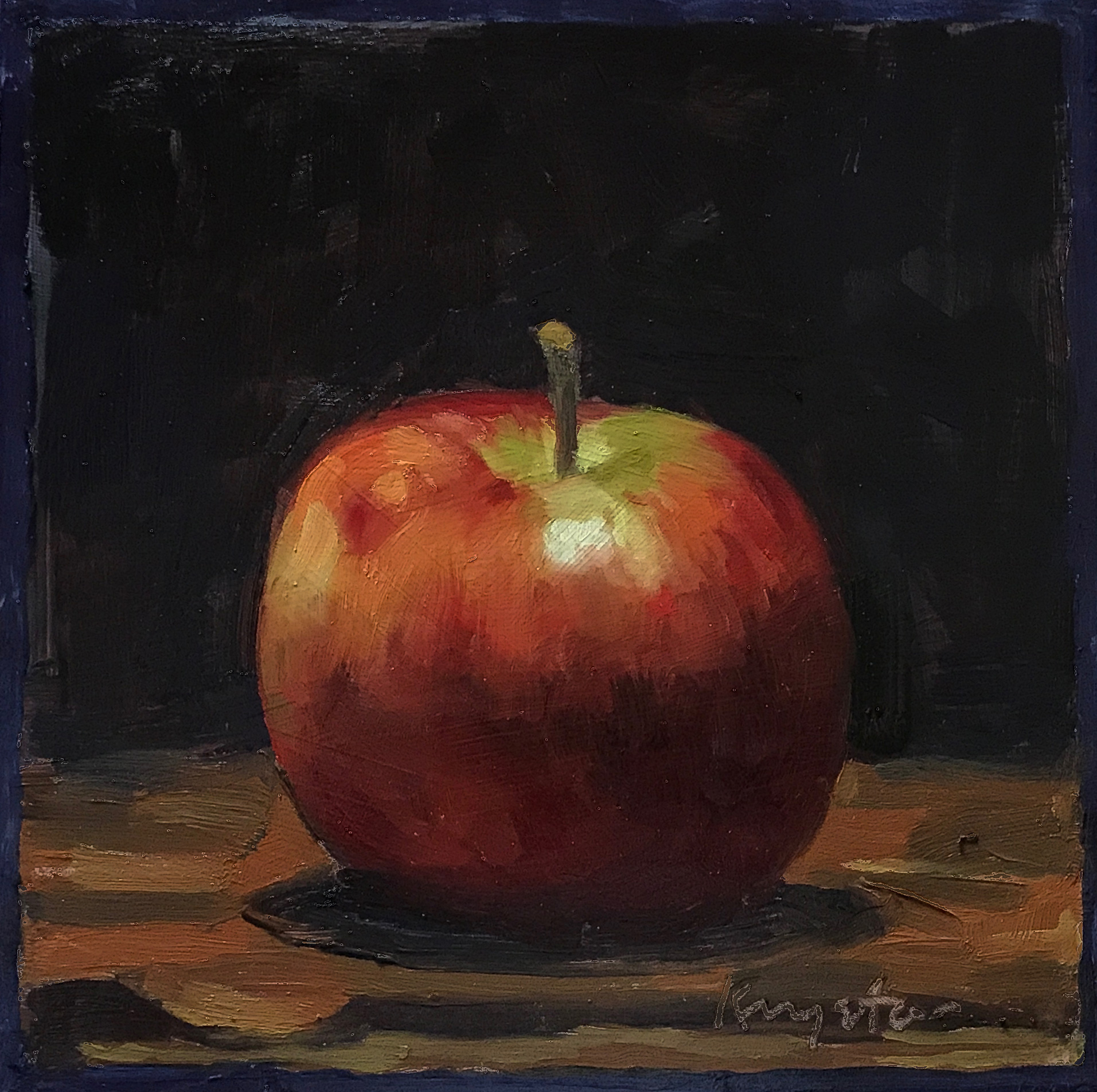 Apple with Blue Border   oil on panel 6 x 6   2017