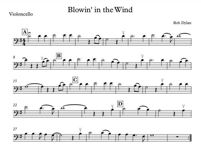 Cello Beginner II: Week #3 - Blowin' in the Wind