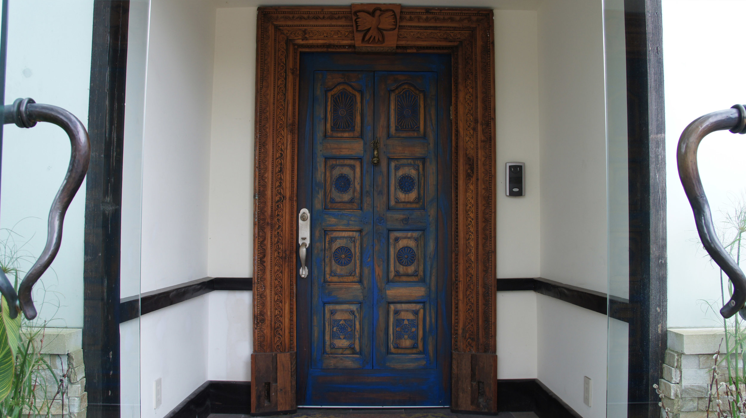 """#112 →</a><strong>2.5"""" reclaimed Teak door from India required being taken apart and put back together. Japan blue, custom casings and copper/bronze weatherstripping.</strong>"""