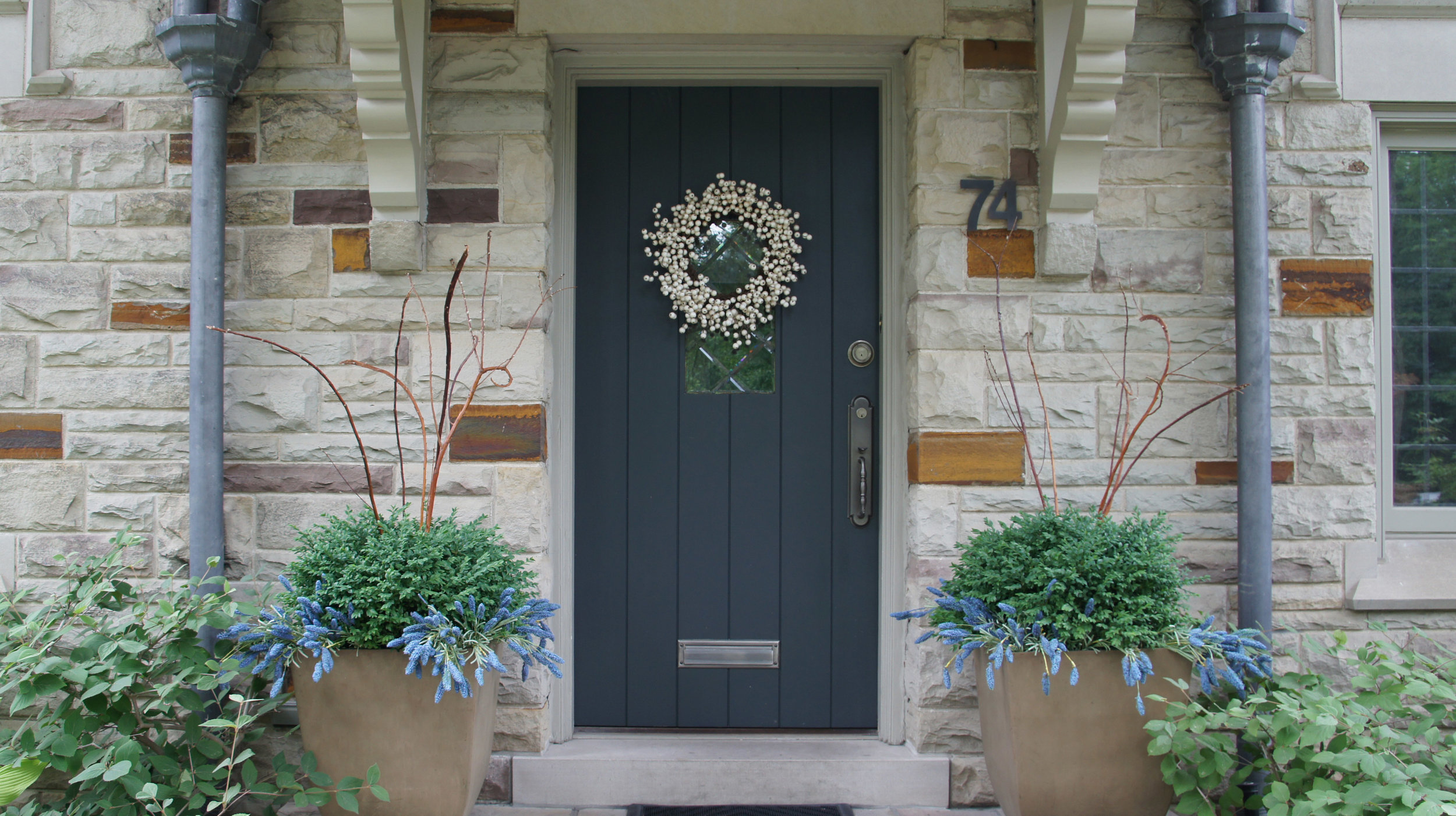 """#74 →</a><strong>2.5""""-thick White Oak with integrated leaded lites to match home's fenestration. Bronze threshold with copper weatherstripping.</strong>"""