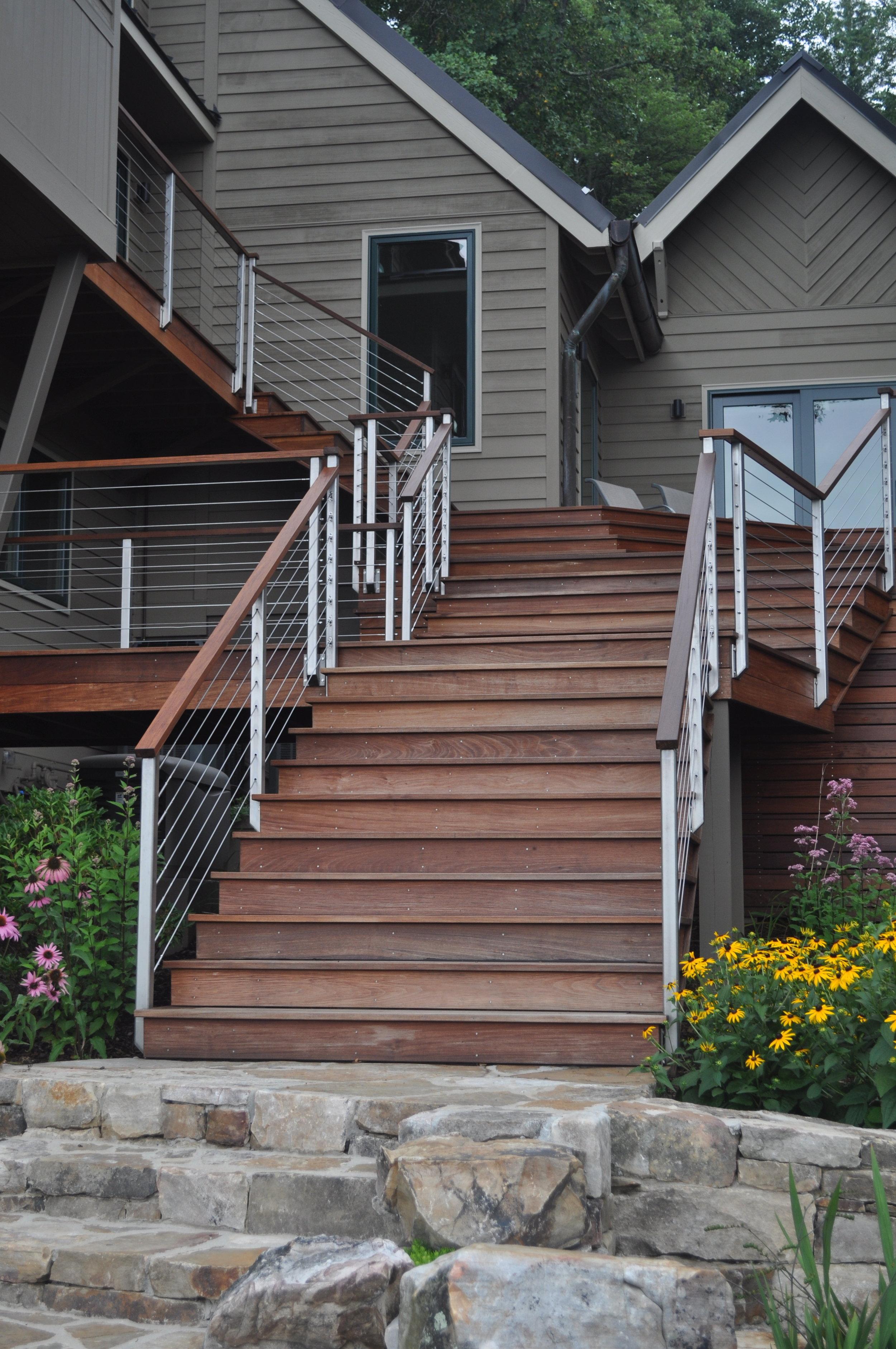Boone/Jamison Residence, Ipe deck with stainless posts, stainless cable, and Ipe top rail.
