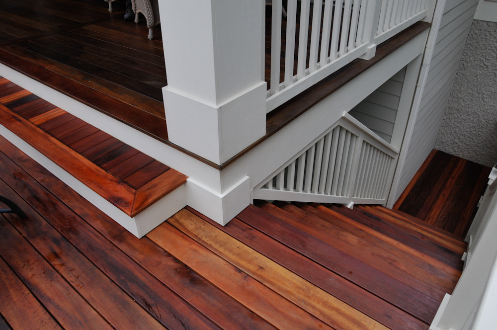 Haas Residence, Detail of Tigerwood steps and handrail   .