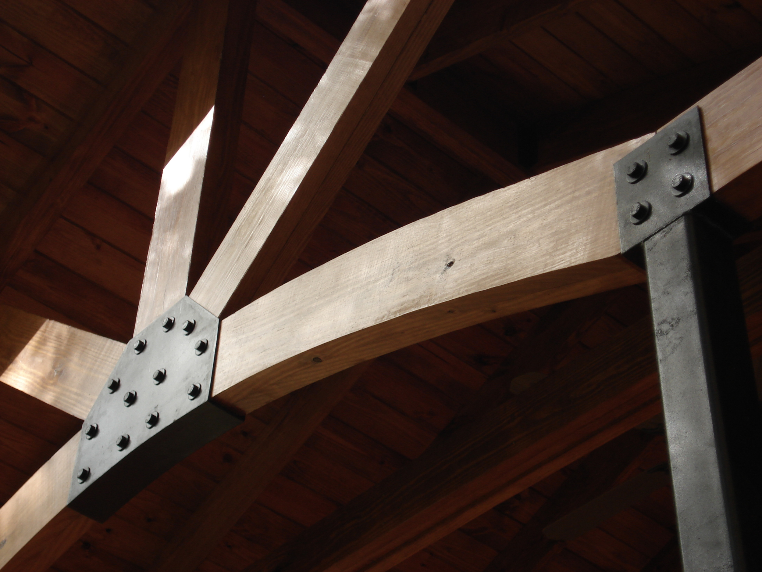 Sofa Rock Residence, Detail of metal brackets on front porch.