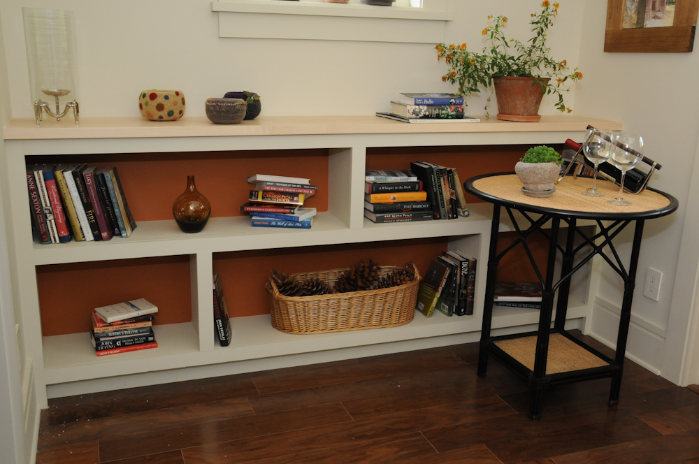 Bookshelves Adjacent to Daybed at Southern Living Idea Home Davidson Gap. Painted poplar with hard maple top.