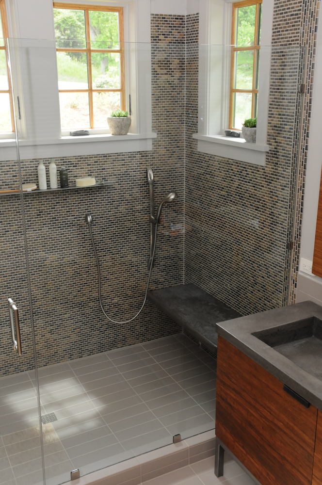 Slate tile mosaic shower in the master bath at the Southern Living Idea House in Whisper Mountain, North Carolina.