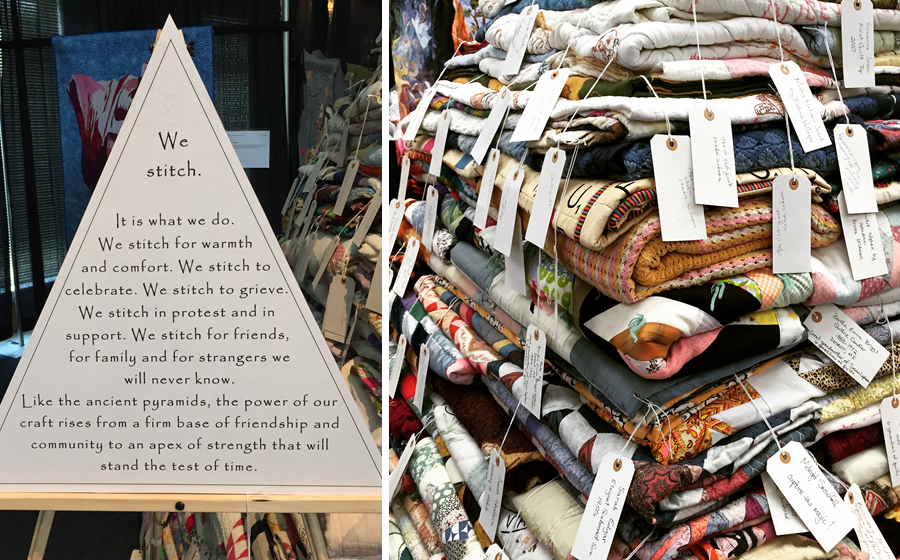 The Quilt Pyramid and its poignant description. The folded quilts were tagged with name and provenance and then folded and stacked into a huge pyramid near the center of the exhibit hall.