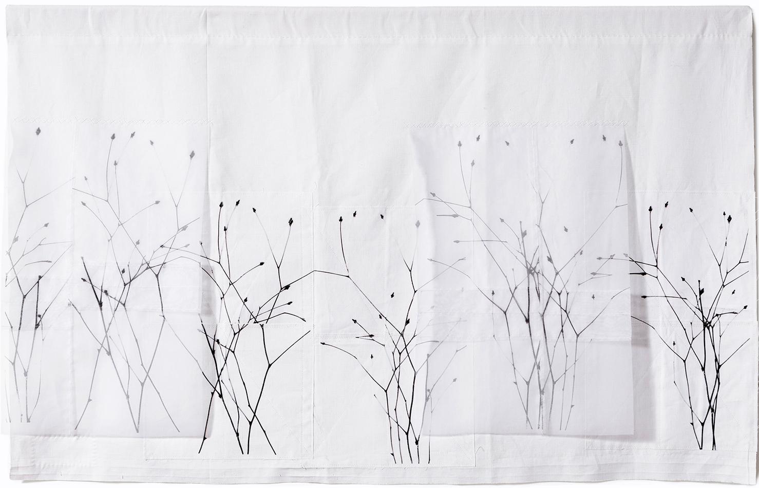 "Winter Field , 46"" x 30"", vintage cotton, silk organza, digital print, stitching"