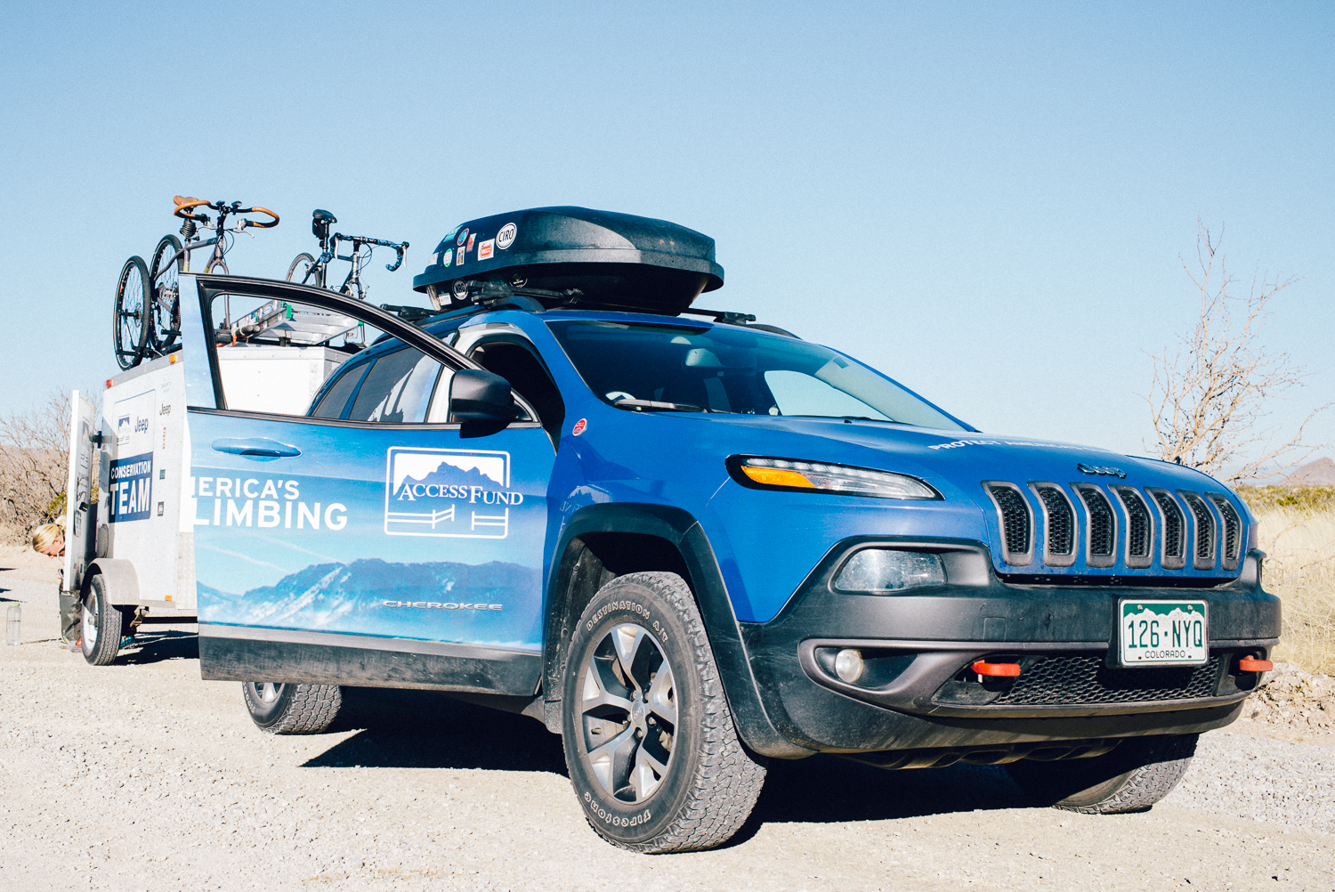 Mike and Amanda's transcontinental vehicle provided by Jeep. Both Mike and Amanda are part of Access Fund's Conversation Team, which entails them going around the country to National and State parks to educate visitors as well as performing conservation work to help preserve the parks. Michael Lim Photography 2015 ©